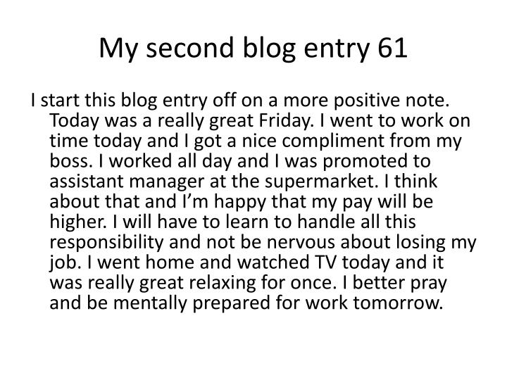 My second blog entry 61