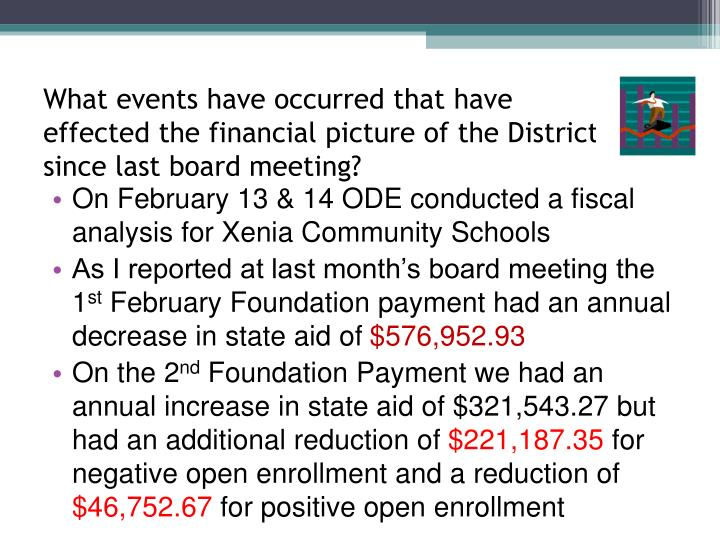 What events have occurred that have effected the financial picture of the District since last board ...