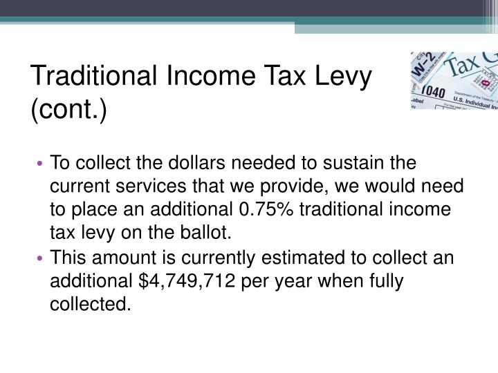 Traditional Income Tax Levy (cont.)