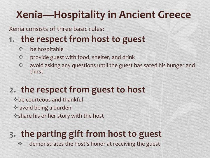 essay on xenia the odyssey The odyssey: be our guest with xenia explores the role of xenia (or hospitality) in the epic poem.
