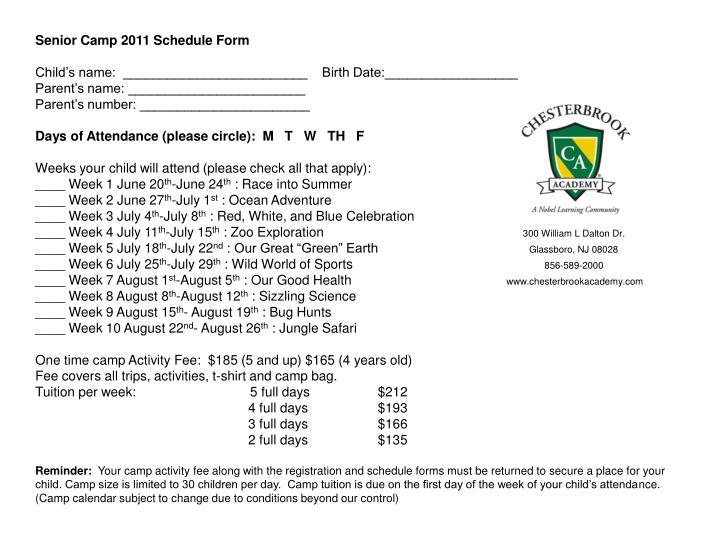 Senior Camp 2011 Schedule Form