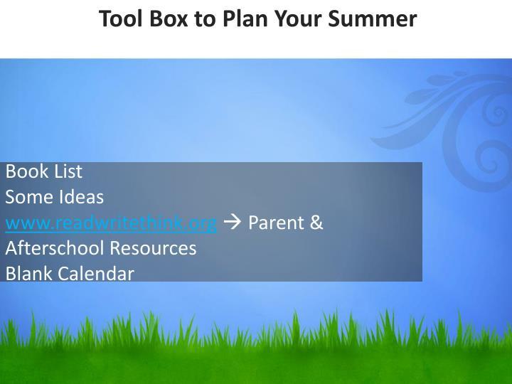 Tool Box to Plan