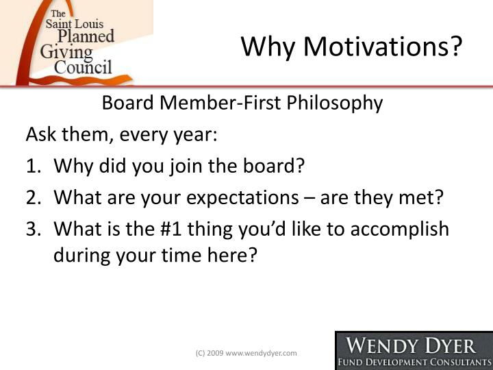 Why Motivations?