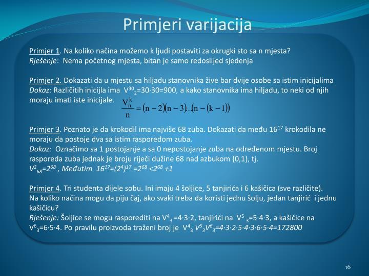 Primjeri varijacija