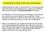 commitment foot in the door technique