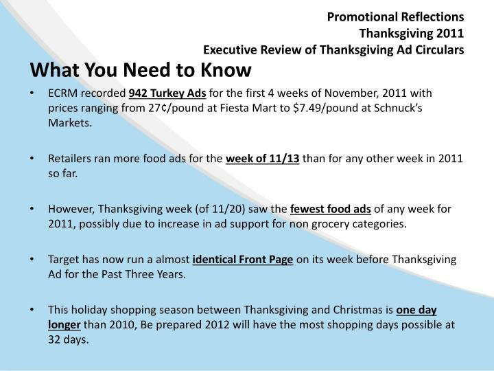 Promotional reflections thanksgiving 2011 executive review of thanksgiving ad circulars