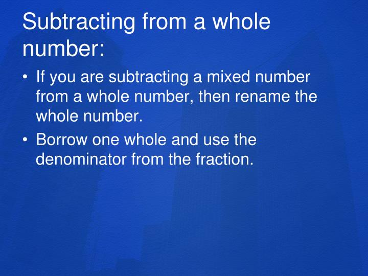 Subtracting from a whole number: