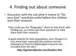 4 finding out about someone