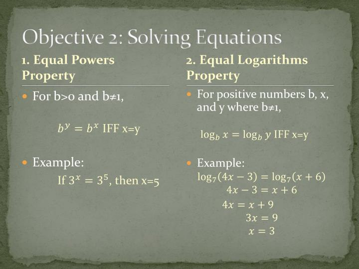Objective 2: Solving Equations