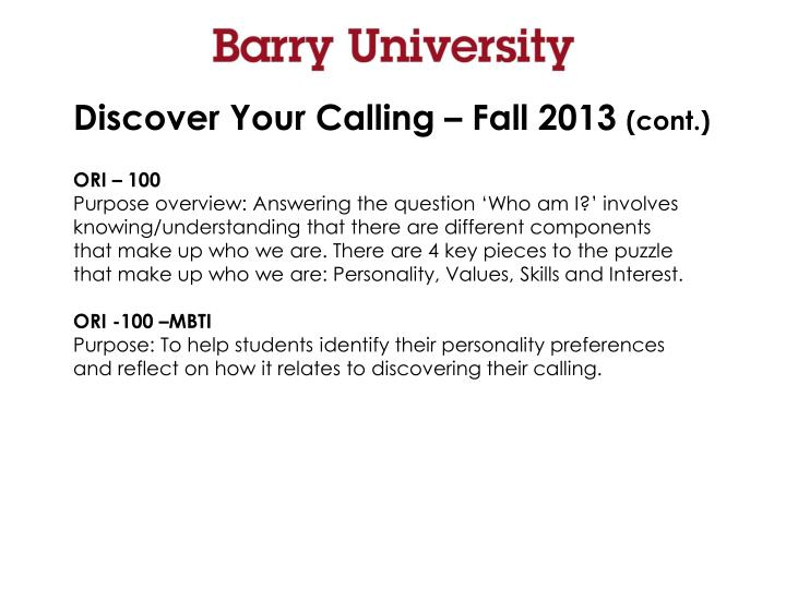 Discover Your Calling – Fall 2013