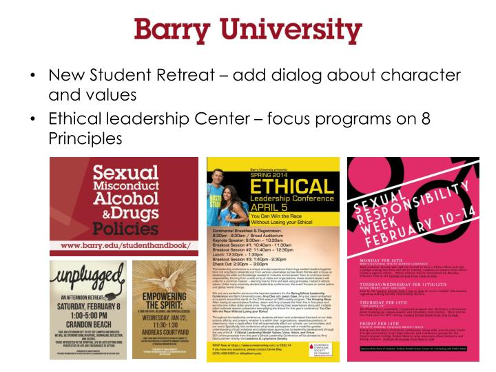 New Student Retreat – add dialog about character and values