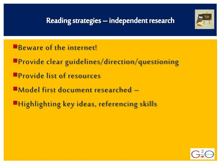 Reading strategies – independent research