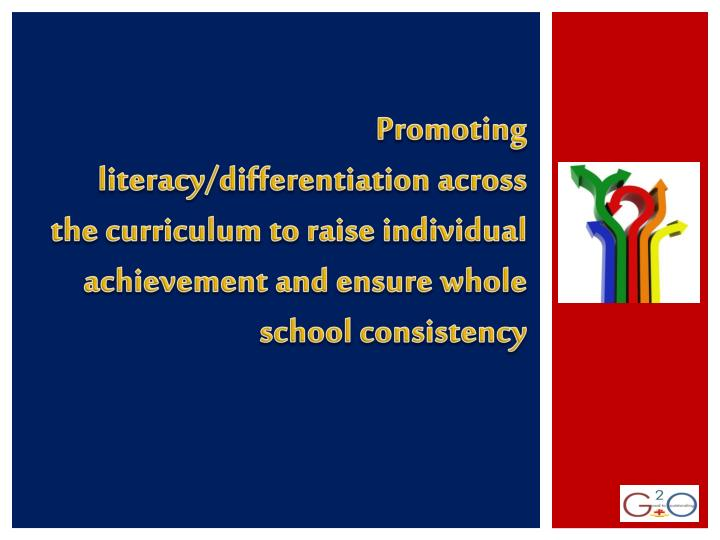 Promoting literacy/differentiation across the curriculum to raise individual achievement and ensure ...