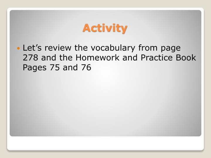 Let's review the vocabulary from page