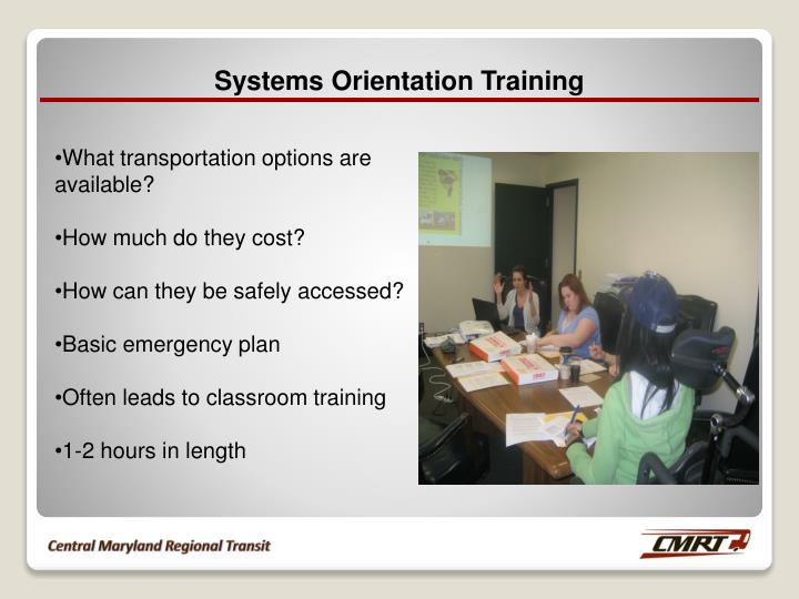 Systems Orientation Training