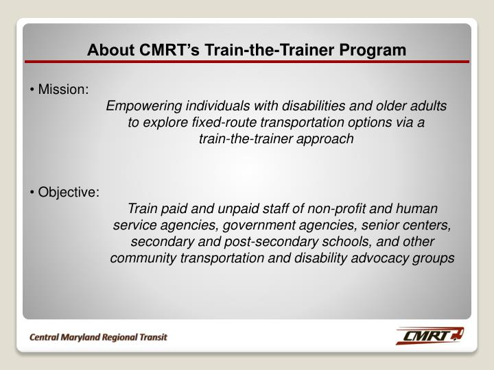 About CMRT's Train-the-Trainer Program