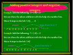 adding positive integers and negative integers
