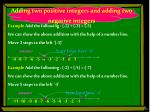 adding two positive integers and adding two negative integers1