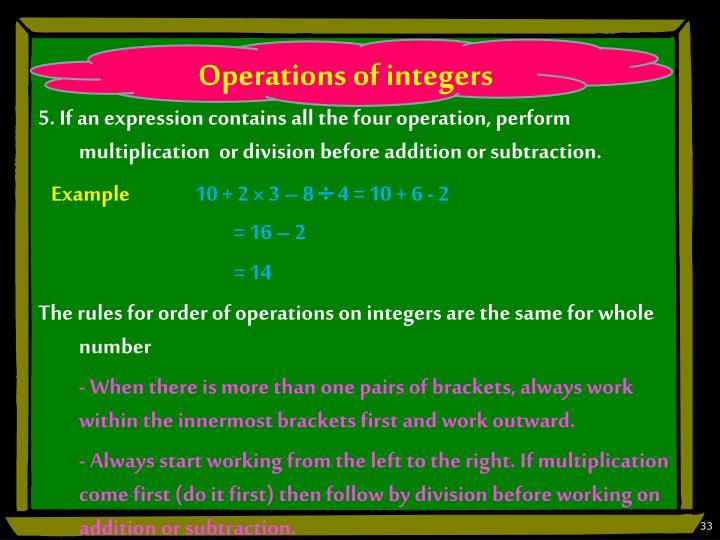 Operations of