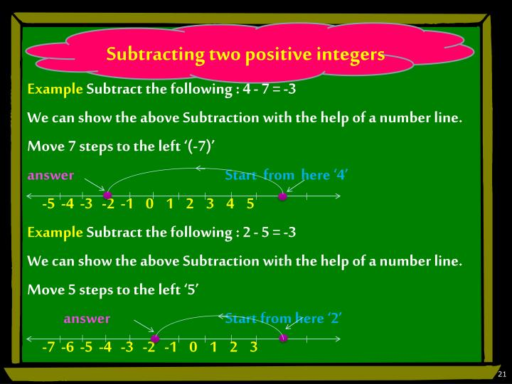 Subtracting two positive integers