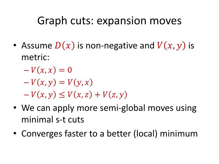 Graph cuts: expansion moves