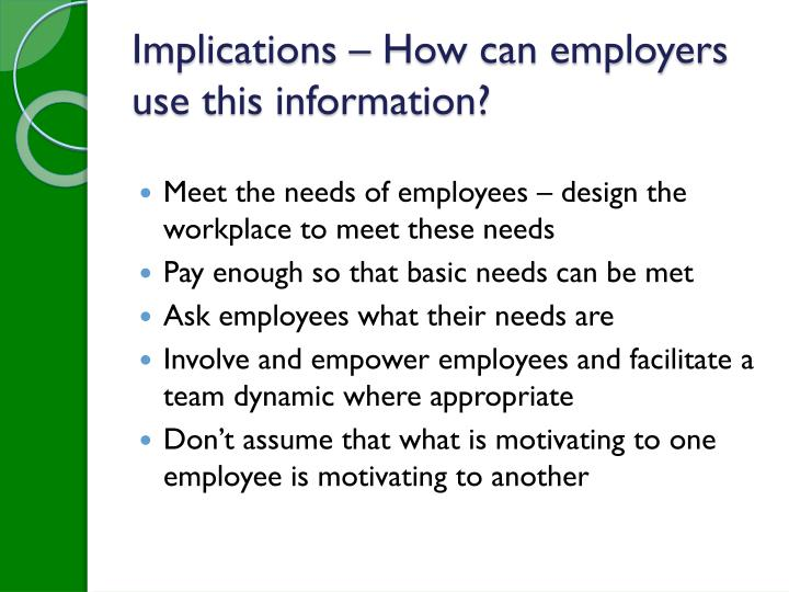 Implications – How can employers use this information?