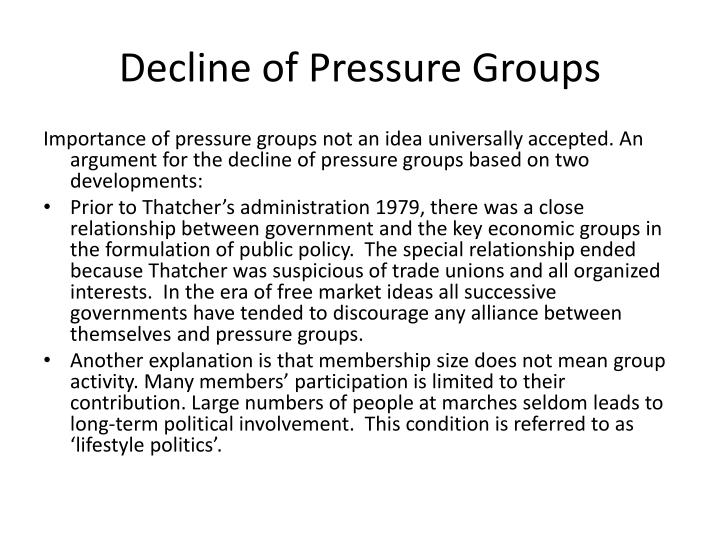 Decline of Pressure Groups