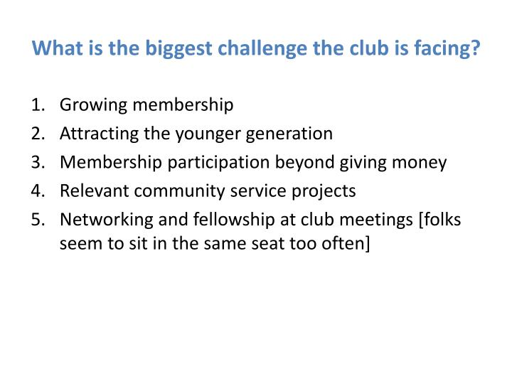 What is the biggest challenge the club is facing?