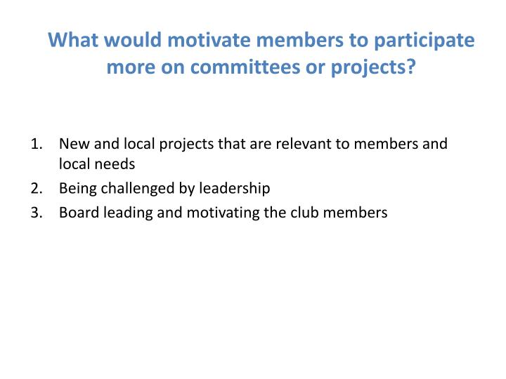 What would motivate members to participate more on committees or projects?