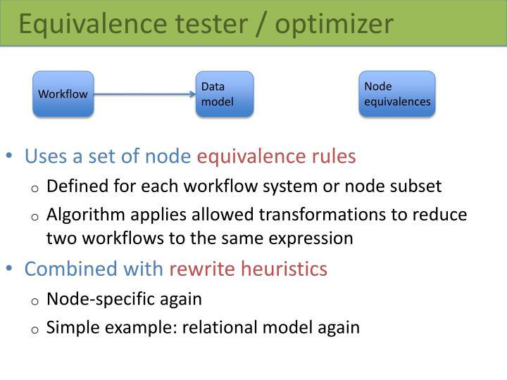 Equivalence tester / optimizer