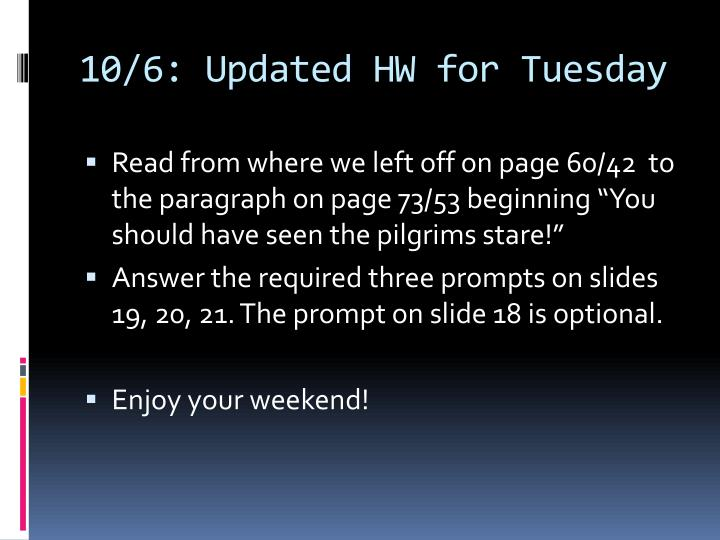 10/6: Updated HW for Tuesday