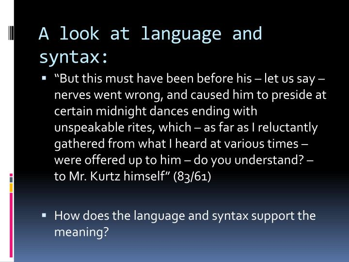 A look at language and syntax: