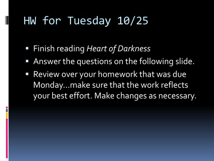 HW for Tuesday 10/25