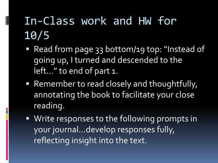 In-Class work and HW for 10/5