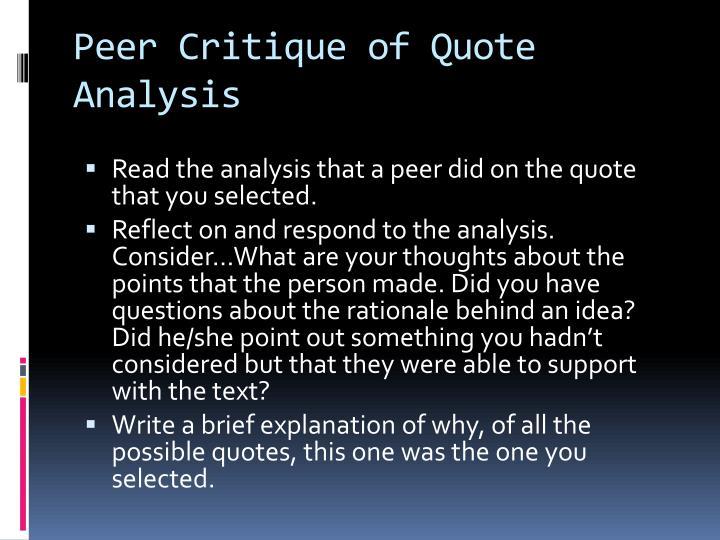 Peer Critique of Quote Analysis