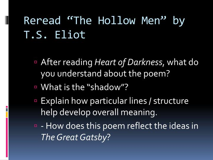 """Reread """"The Hollow Men"""" by T.S. Eliot"""