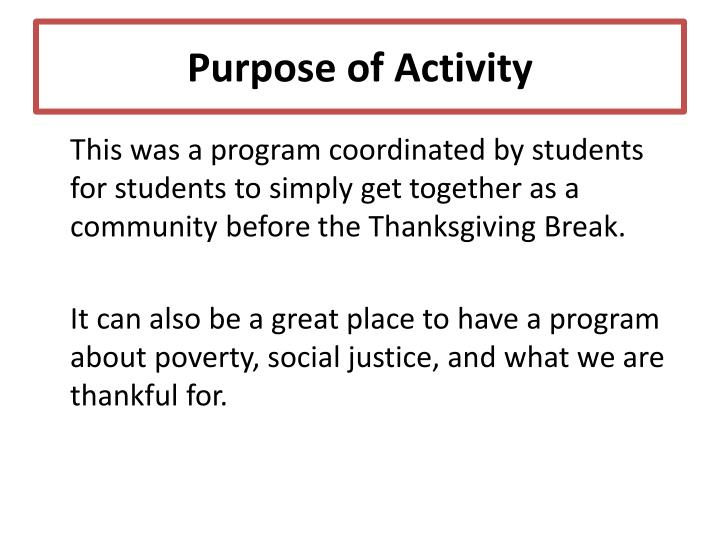 Purpose of Activity