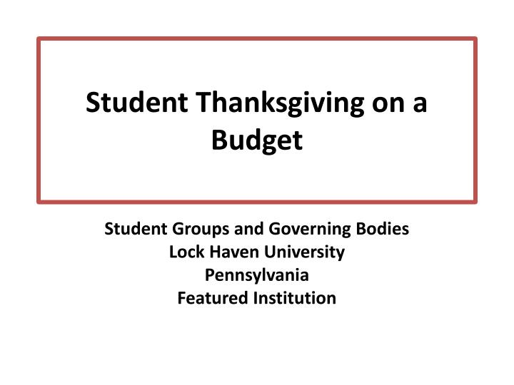 Student Thanksgiving on a Budget