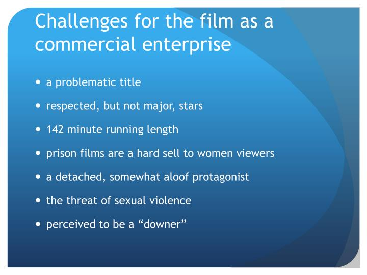 Challenges for the film as a commercial enterprise
