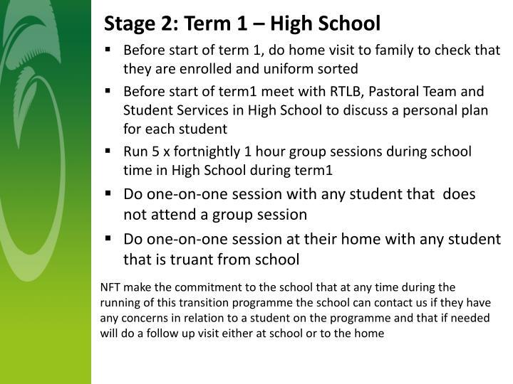 Stage 2: Term 1 – High School