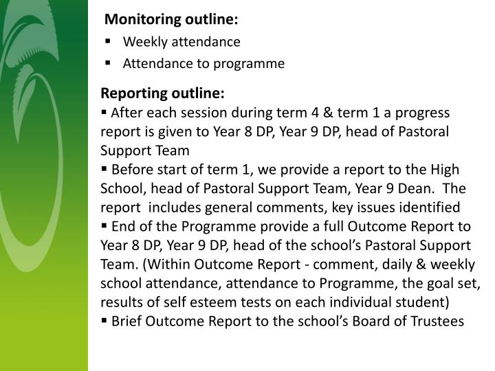 Reporting outline:
