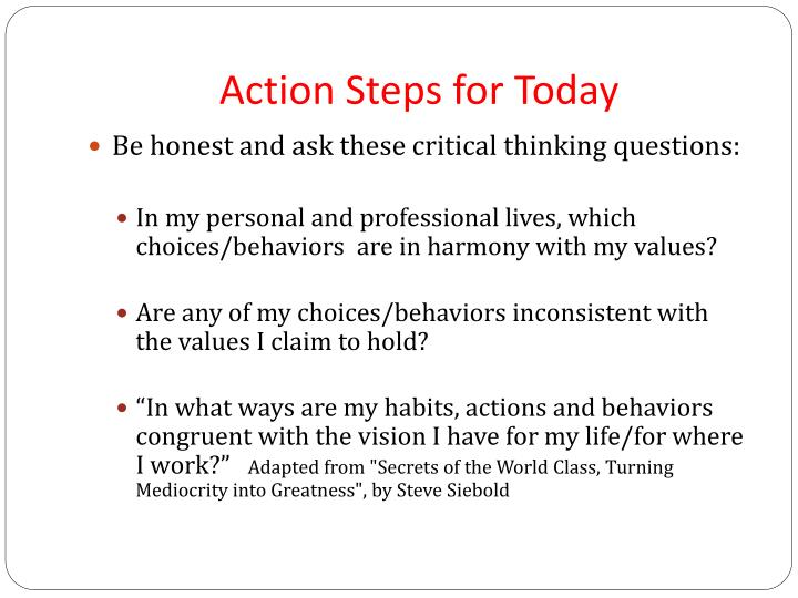 Action Steps for Today