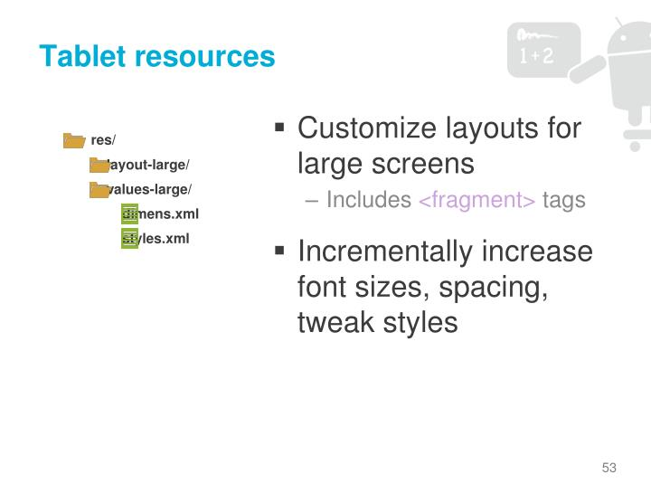 Tablet resources