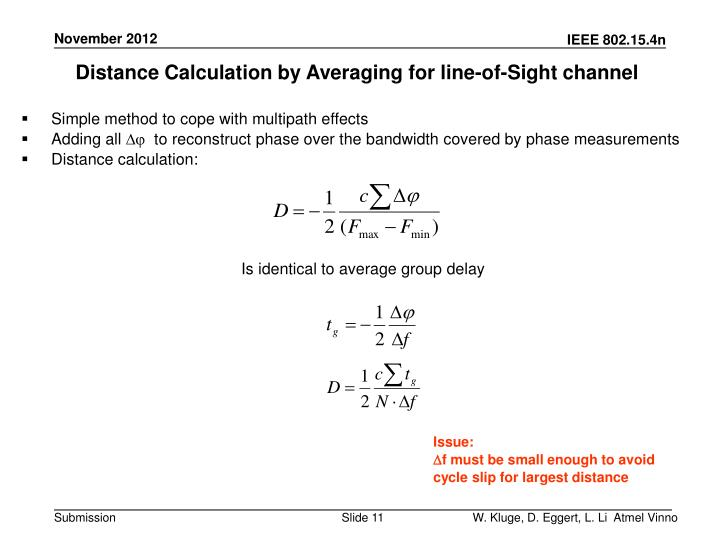 Distance Calculation by Averaging for line-of-Sight channel