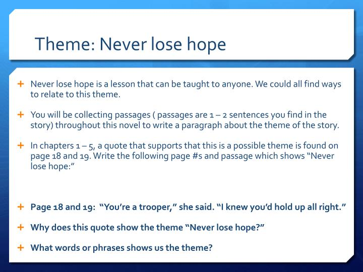 Theme: Never lose hope