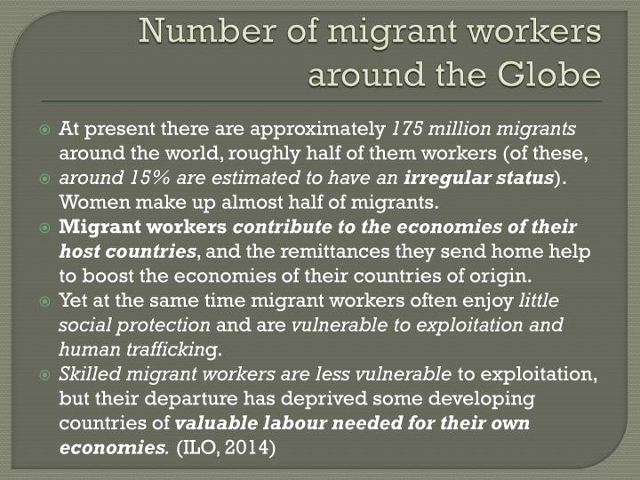 Number of migrant workers around the globe