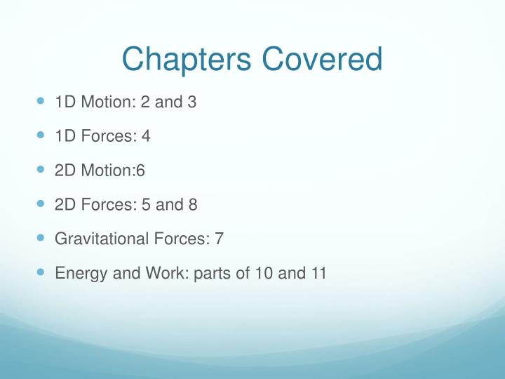Chapters Covered