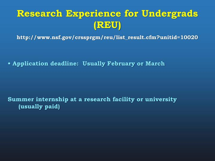 Research Experience for Undergrads (REU)
