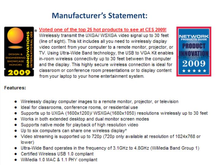 Manufacturer's Statement: