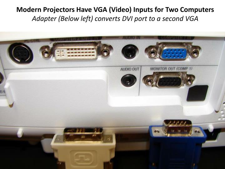 Modern Projectors Have VGA (Video) Inputs for Two Computers